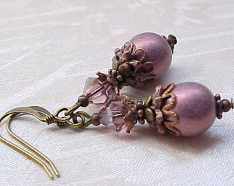 TOP SELLER LAST1 Mauve Earrings Victorian Pink Earrings Victorian Earrings Dusty Rose Antique Pink Earrings Civil War Earrings Antique Style
