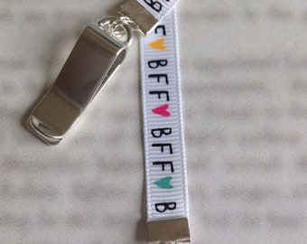 BFF Bookmark / Best Friend Bookmark / Besties Bookmark /Attach to book cover then mark the page with the ribbon. Never lose your bookmark!