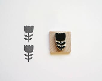 Scandinavian Flower - Hand-Carved Rubber Stamp - Traditional Minimal
