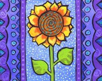 Whimsical Sunflower Print Duffett