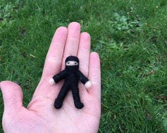 Pocket Ninja needle felted black poseable Ninja