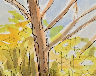 Tree Watercolor Original frameable post card sized painting