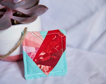 Red Heart Fabric Fridge Magnet