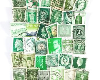 36 x green, used postage stamps from 24 different countries, all off paper for collage, stamp collecting, crafting and scrapbooking