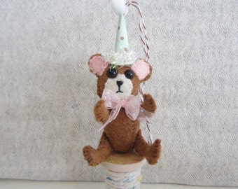 Teddy Bear Ornament Spool Bear Ornament