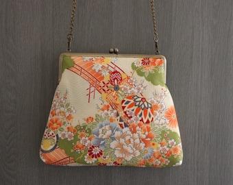 Light green flower/Chirimen /day bag/ Cross body bag/ Evening bag / Hand-made