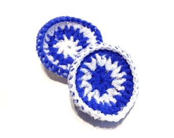 Royal Blue And White Striped Crocheted Nylon Netting Dish Scrubbies-Pair