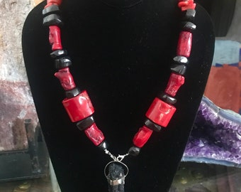Red coral, Black Tourmaline and Jet(azabache)