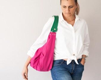 SALES Large hobo bag in pink cotton and green leather, shoulder purse carryall bag oversized purse everyday bag-Kallia bag