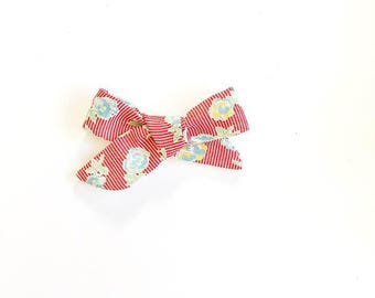 Red and White Striped Hair Bow, Blue Floral Hair Clip, Spring Floral Nylon Headband
