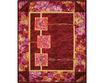 Abstract Art Quilt, Fabric Wall Hanging, Fiber Art, Maroon Red with Pink Flowers