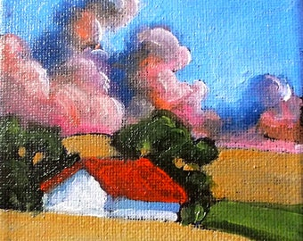 Miniature Impressionist Painting 4x4 Plein Air Landscape California Sunset Santa Ynez Farm Barn Lynne French