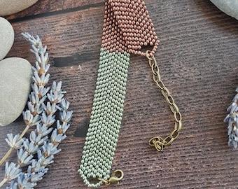 Bright Beaded Bracelet- metallic green and bronze