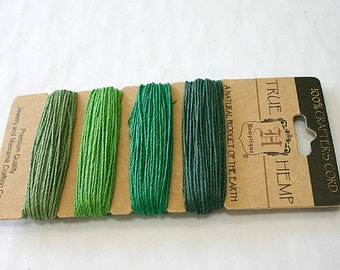 Hemp Cord Polished 1mm 20 Pound Test 120 Ft Shades Of Green
