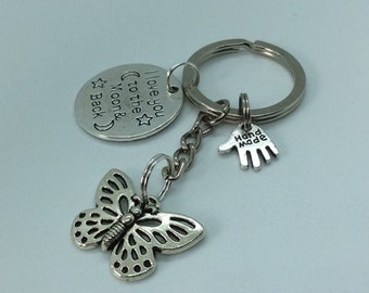 Butterfly and love you to the moon and back keyring.