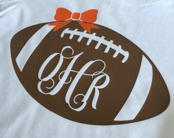 Girl's monogrammed football shirt