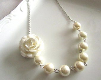 Wedding jewelry, wedding jewelry for brides, ivory pearl necklace, pearl bridal, jewelry for bridemaids, ivory fabric, ivory fabric flowers