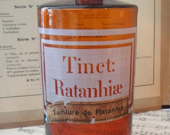 Antique French Apothecary Bottle Tincture Ratanhiae c.1900
