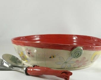 Large Red Ceramic Serving Bowl, Family Size Pasta Bowl, Large Salad Bowl, Ceramics and Pottery, 9th Anniversary Gift, Valentine Red Pottery