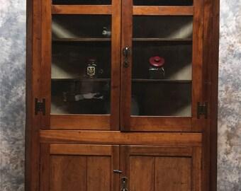 Vintage Corner Cabinet With Doors, Kitchen Hutch Cabinet, Corner Hutch  Cupboard, Kitchen Corner