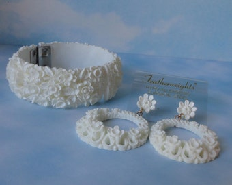 Vintage Featherweights Clamper Bracelet and Earrings Set. Bubbleite, Featherlite Demi Parure.Mint