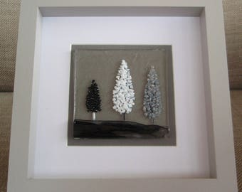 Winter/Snowy Trees Fused Glass Picture