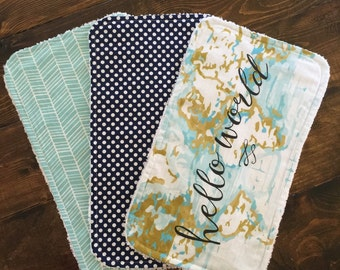 Hello World Burp Cloths, burp cloths, modern baby, baby shower gift