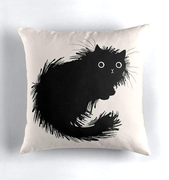 Moggy (No.2) - Black and White - Throw Pillow / Cushion Cover including insert by Oliver Lake / iOTA iLLUSTRATION