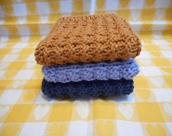 """Baby Washcloths knitted in very soft cotton yarn  8 x 8 """", Baby Shower Gift, little Boys washcloth"""