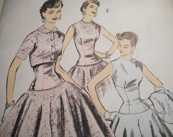 Vintage 1950's Advance 7923 Dress and Jacket Sewing Pattern Size 14 Bust 32