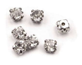 10 Faceted transparent Chaton in metal base 4 mm