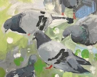 Pigeons on Green