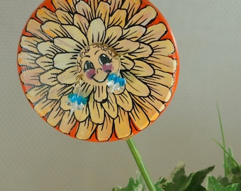 Orange and Yellow Flower Plant Poke , Handmade , Hand Painted , and has Her Own Earrings