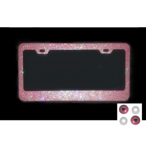 Pink Disco Colored Glitter Bling Sparkly License Plate Frame And Rhinestone Screw Cap Covers by Etsy
