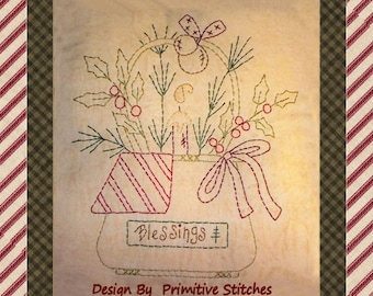 Christmas Blessings Basket-Primitive Stitchery  E-PATTERN by Primitive Stitches-Instant Download