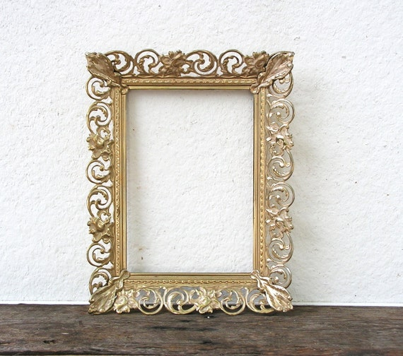 5 x 7 Brass Metal Frame Filigree Picture Frame Art Deco
