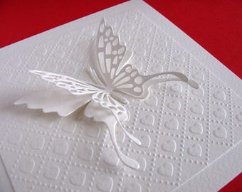 Large Layered Butterfly on Embossed Heart Panel on Creamy Ivory Card / 5.5 inches square / or Choose Your Preferred Butterfly Colour