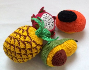 Crochet play food , eco-friendly toys, - Play food.Crochet Play Food .4 pcs/play food/toy food/food toy