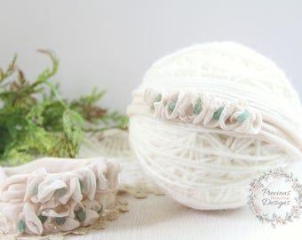 Newborn Tieback, Newborn Headband - Floral Crown, Vintage Inspired Tieback, Beige Natural Sage Green, Baby Girl Photo Prop, Newborn Halo