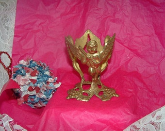 Brass Angels/Cherubs Playing Mandolins Candle Holder with a handmade Scrappy Fabric Ornament
