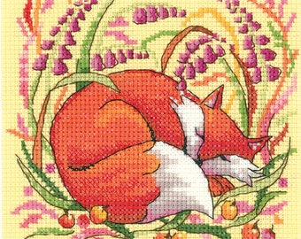 FOX Cross Stitch Kit from Heritage Crafts Woodland Creatures range , Counted Cross Stitch, Cross stitch kit, evenweave kit or 14 ct aida