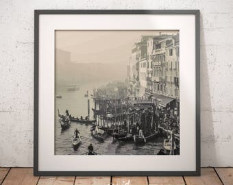 Venice print, gondolas, Grand Canal, Rialto, digital download, printable poster, gondolas in Venice, modern art, large printable poster