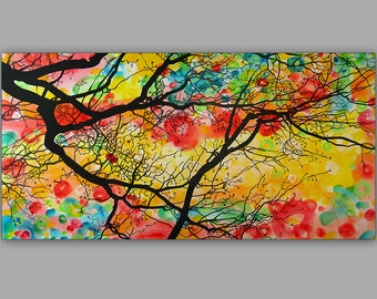 Tree Painting, Original Tree Painting on Canvas, Modern Tree Art, Wall Deco Trees