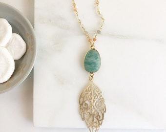 Long Leaf Necklace with Amazonite and Moonstone in Gold. Long Bohemian Necklace. Boho Jewelry. Gift.