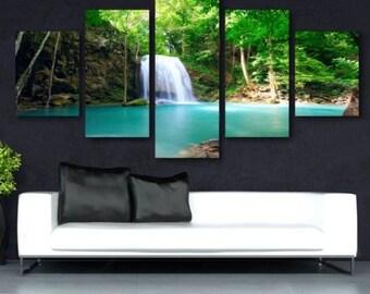 Forrest Waterfall- split framed canvas print