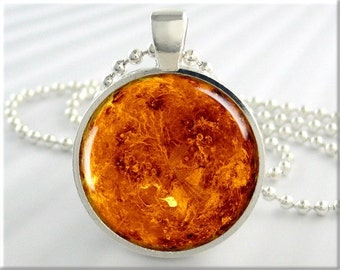 Planet Venus Pendant, Planet Necklace, Resin Space Jewelry, Space Gift, Venus Jewelry, Round Silver 548RS