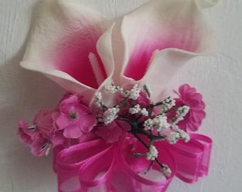 Fuchsia Ivory Calla Lily Corsage or Boutonniere