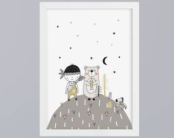 Friends Indians and Bear-art print without frame