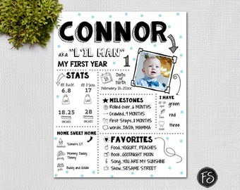 Baby Infographic, 1ST Birthday Poster, PRINTABLE Customized Birthday  Sign, Black and White PRINTABLE POSTER with Blue Polkadots, 2653p