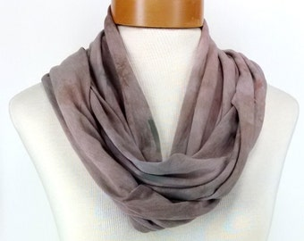 Camel Brown Infinity Scarf, Bamboo Jersey Scarf, Hand Dyed Scarf, Neck Wrap